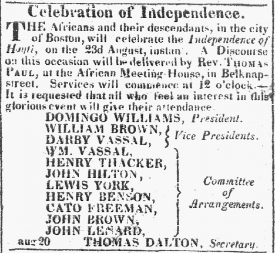 Article announcing a Celebration of Independence for Haiti, as recognized by the King of France.