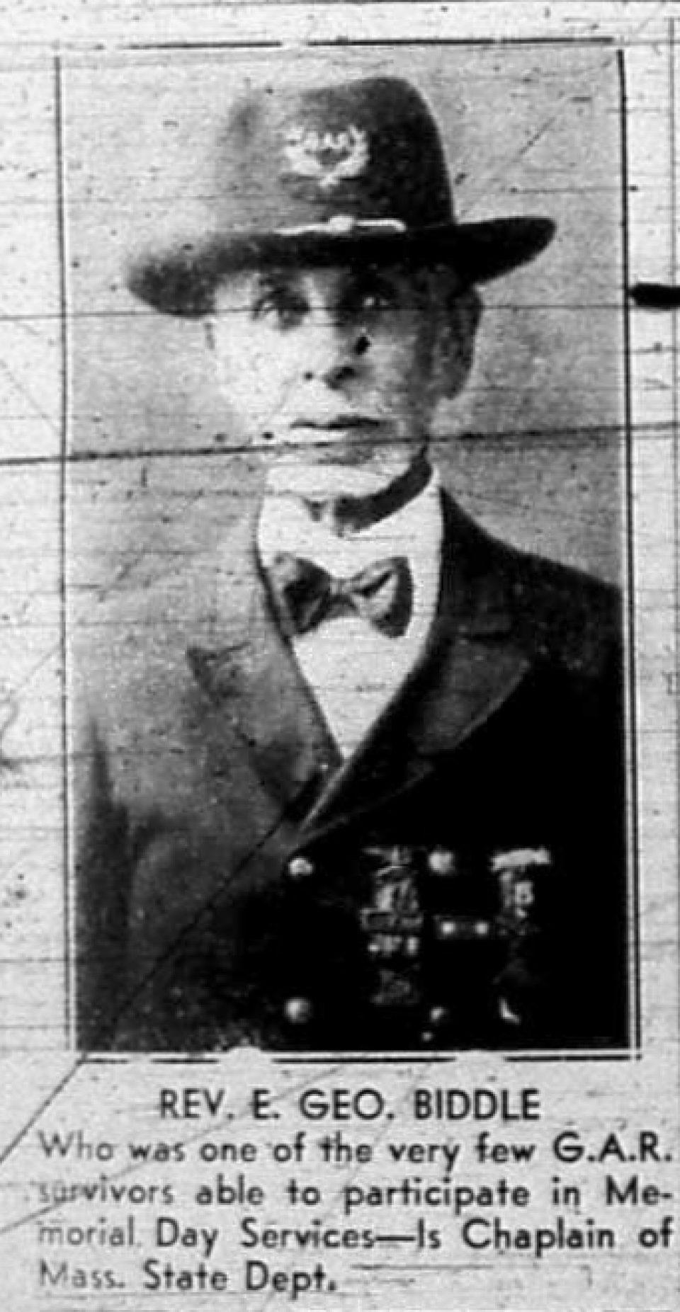 Portrait of Rev. Dr. E. George Biddle in G.A.R. uniform.