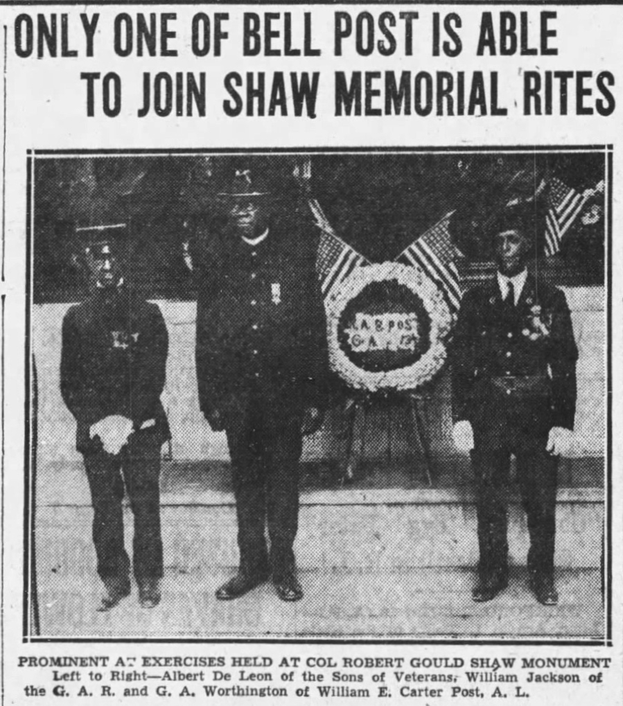 """Boston Globe article headline: """"Only One of Bell Post Is Able To Join Shaw Memorial Rites"""""""