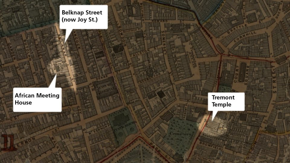 Darkened map with a cameo highlight of Tremont Temple on right and the African Meeting House on left.